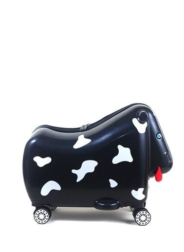Ox Ox Moo Çekçekli Sert Siyah Çocuk Valiz Siyah